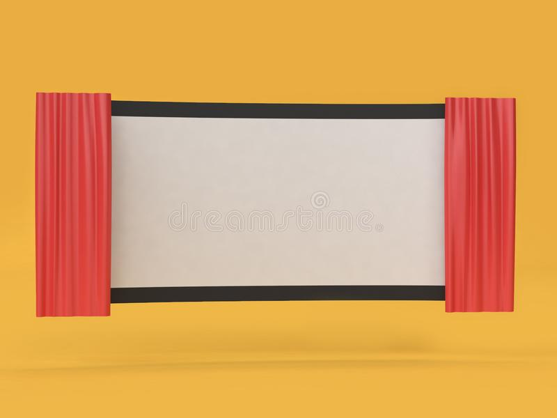 3d回报抽象空白的电影戏院屏幕电影,戏院,娱乐概念 向量例证