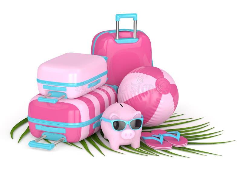 3d回报有手提箱和海滩球的存钱罐 皇族释放例证