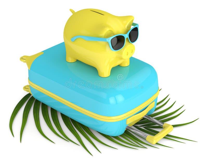 3d回报有手提箱和海滩球的存钱罐 库存例证