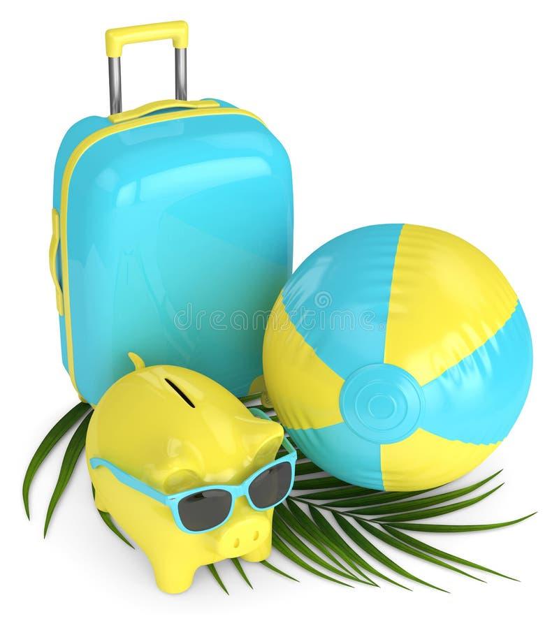 3d回报有手提箱和海滩球的存钱罐 向量例证