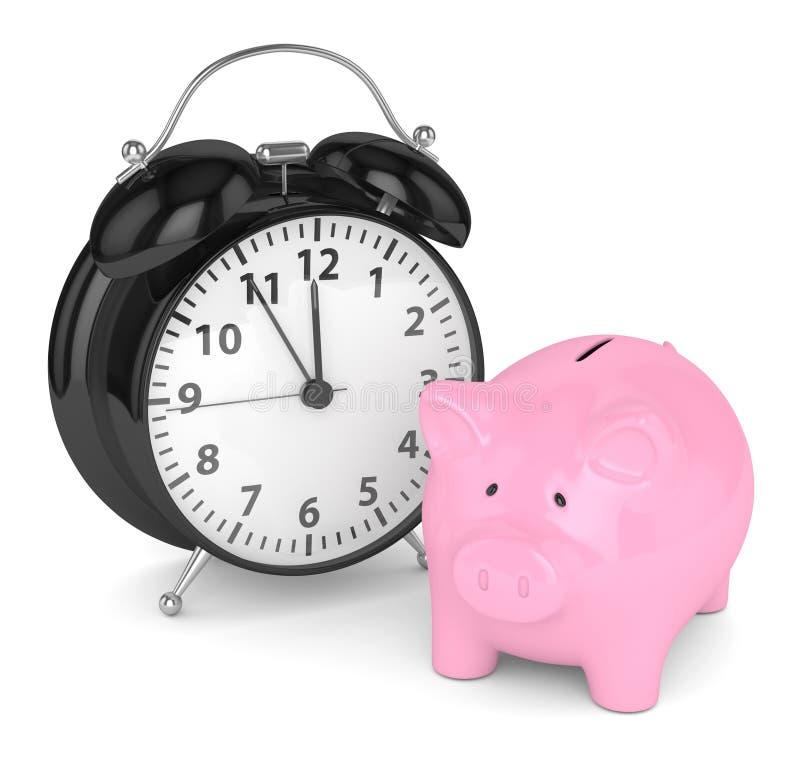 3d回报有时钟的存钱罐 皇族释放例证
