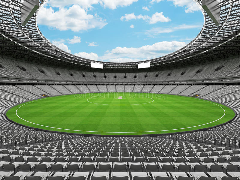 3D回报有白色位子和VIP箱子的一个圆的蟋蟀体育场 向量例证