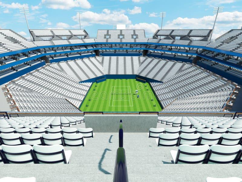 3D回报有白色位子的美丽的大现代网球草地网球场体育场 皇族释放例证