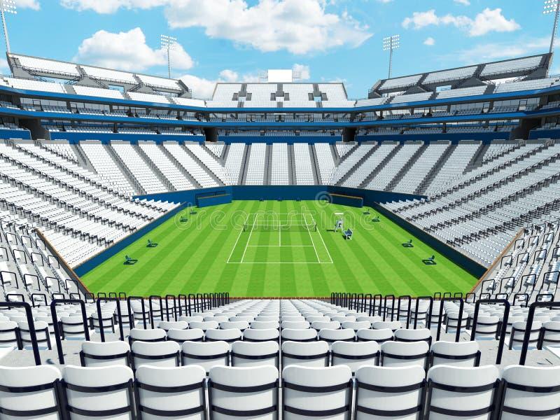 3D回报有白色位子的美丽的大现代网球草地网球场体育场 库存例证