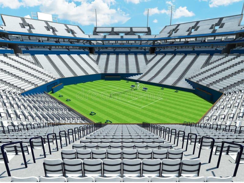 3D回报有白色位子的美丽的大现代网球草地网球场体育场 向量例证