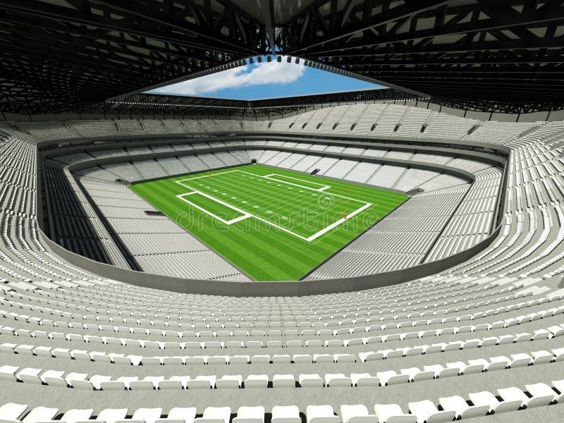 3D回报有白色位子的美丽的现代大橄榄球体育场 向量例证