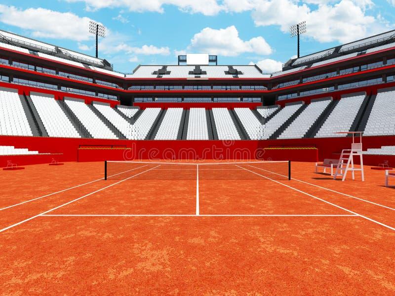 3D回报有白色位子的美丽的现代网球红土网球场体育场 库存例证