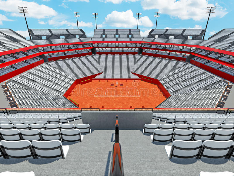 3D回报有白色位子的美丽的现代网球红土网球场体育场 皇族释放例证
