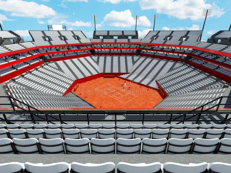3D回报有白色位子的美丽的现代网球红土网球场体育场 向量例证