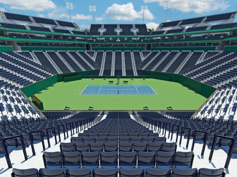 3D回报有硬地网球表面的美丽的现代网球体育场 库存例证