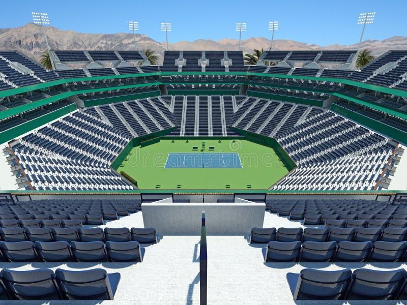 3D回报有硬地网球表面的美丽的现代网球体育场 皇族释放例证