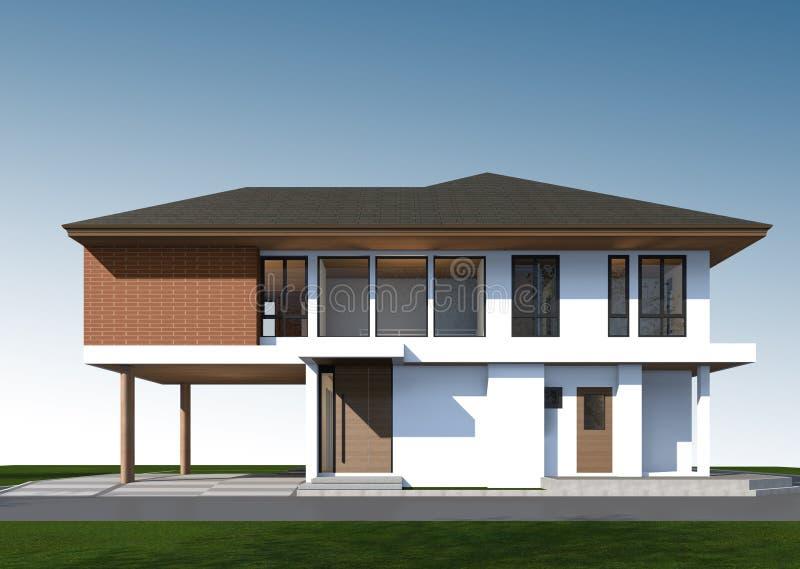 3D回报有裁减路线的热带房子 库存图片