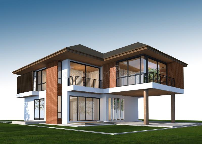 3D回报有裁减路线的热带房子 免版税库存图片
