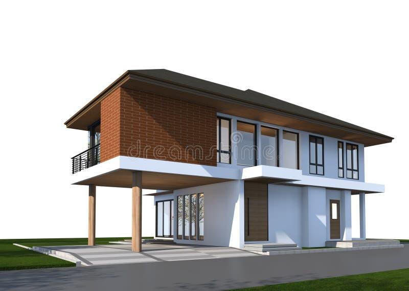 3D回报有裁减路线的热带房子 免版税库存照片