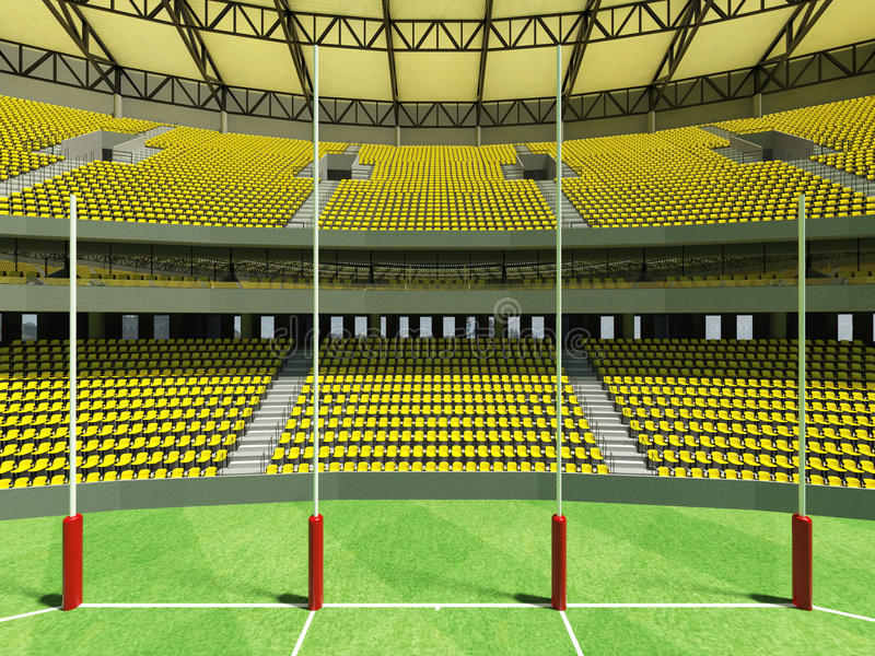 3D回报有黄色椅子的一个圆的澳大利亚人规则橄榄球场 皇族释放例证
