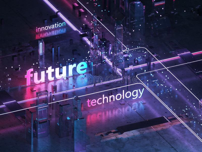 3D回报未来派城市 大数据 向量例证