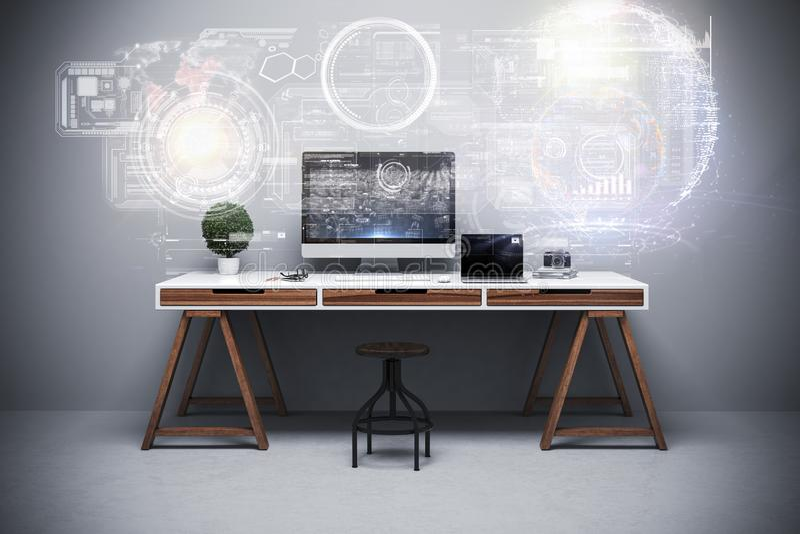 3d回报现代计算机工作场所设定 向量例证