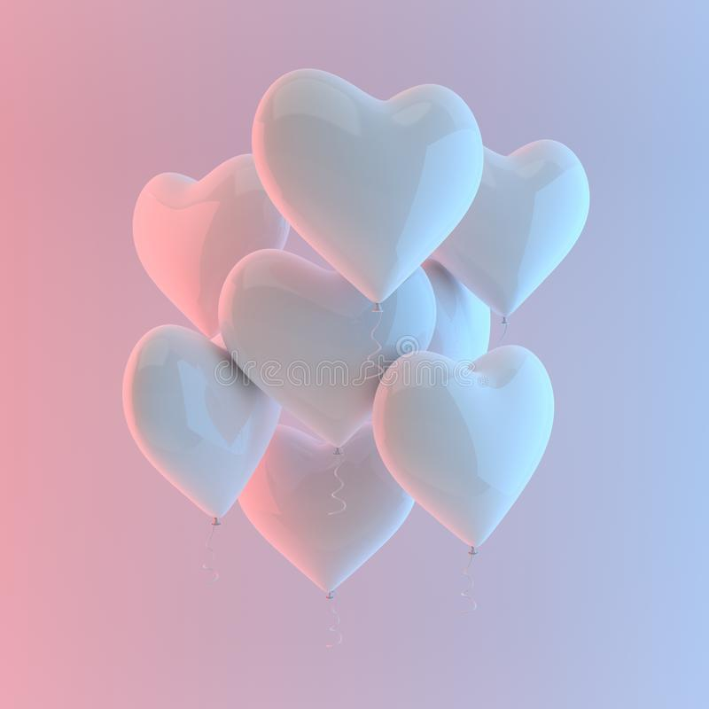 3d回报现实白色光滑的心脏气球的例证在白色背景,五颜六色的演播室光的 日s华伦泰 库存例证
