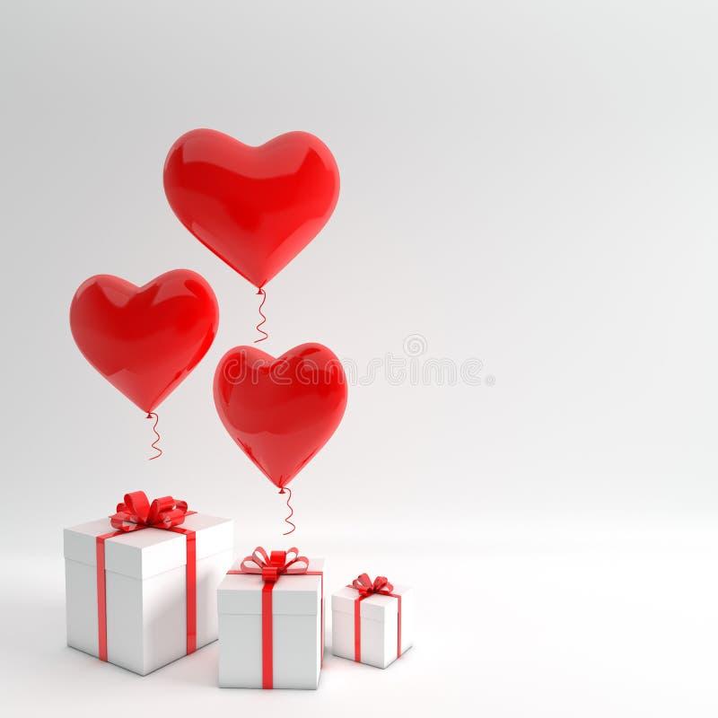 3d回报现实红色和白色心脏气球和礼物盒的例证有弓的在白色背景 党的空的空间 库存例证