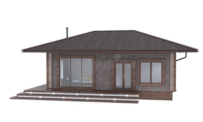 3D回报白色背景的典雅的家 住宅不动产例证 库存例证