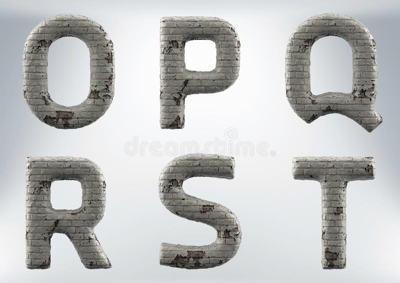 3D回报石工的套,砖字母表 向量例证