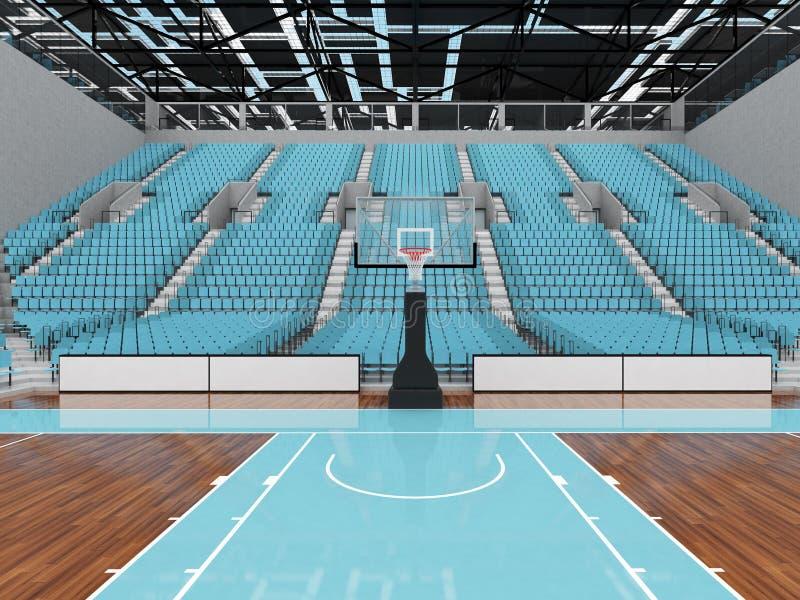 3D回报篮球的美好的现代竞技场与天蓝色位子 皇族释放例证