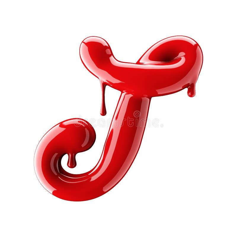 3D回报红色字母表由指甲油做 手写的草写字体T 查出在白色 向量例证