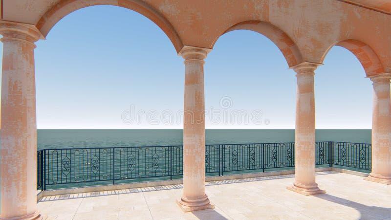 3d回报罗马阳台经典海视图意大利被留下的视图 向量例证