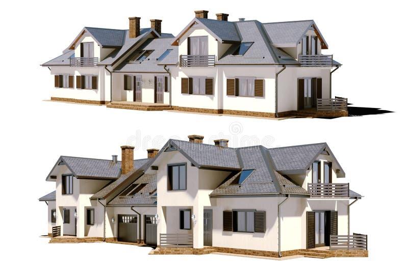 3d回报美丽的住宅房子 皇族释放例证