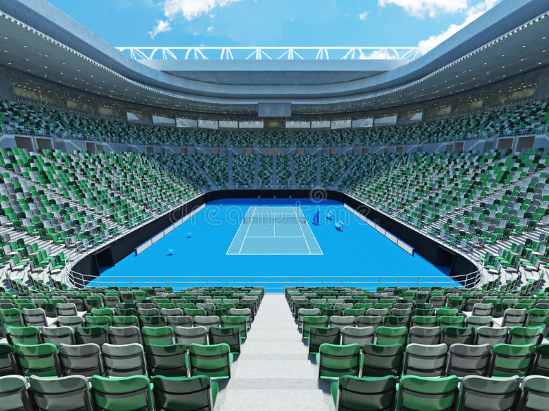 3D回报美丽的现代网球全垒打极为相象的体育场 向量例证