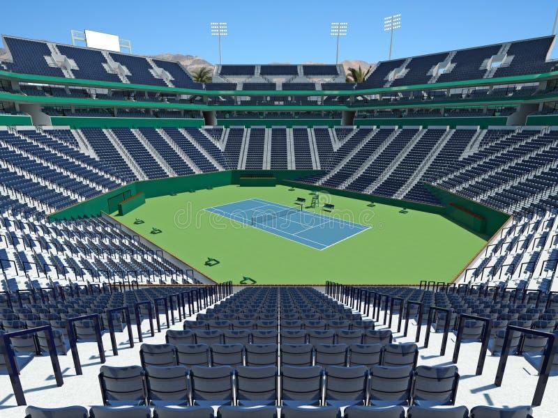 3D回报美丽的现代网球大师极为相象的体育场 库存例证