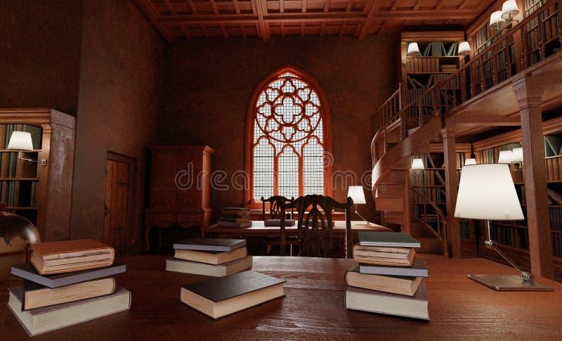 3D回报老古色古香的图书馆 免版税图库摄影