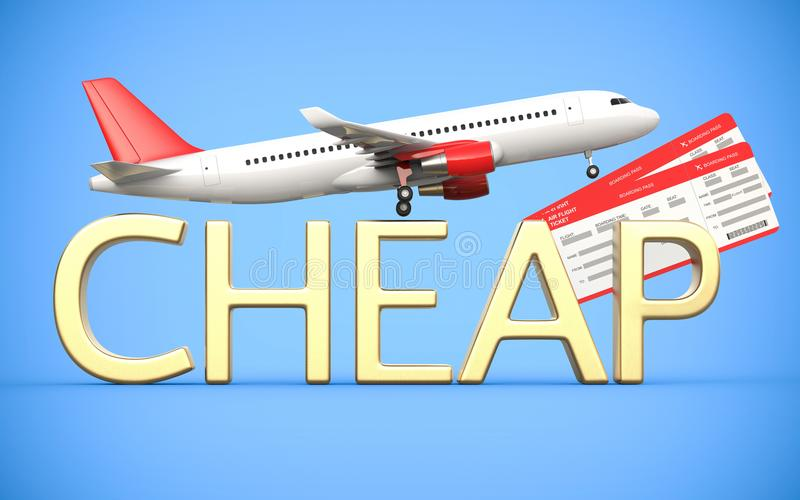3d回报航空公司,与飞机,班机的飞机票,并且金文本是便宜的,在蓝色背景 便宜象征 库存例证