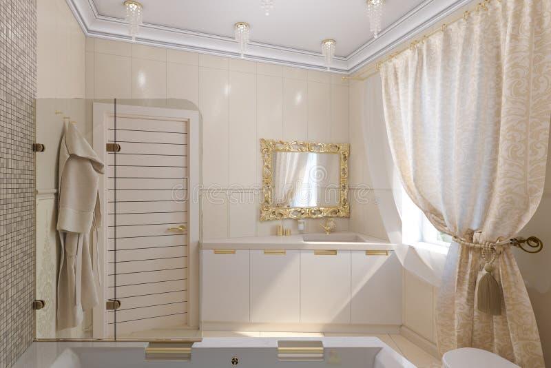 3d回报豪华在一个经典样式的卫生间室内设计 免版税图库摄影