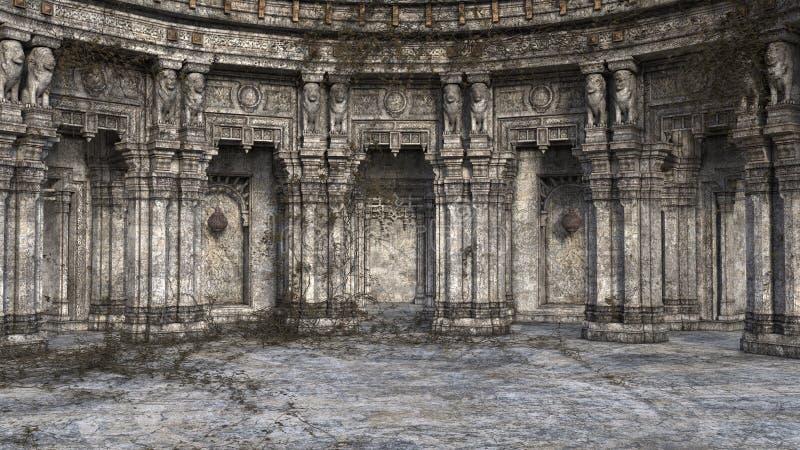 3D回报遗弃和长得太大的幻想样式法院或王位室 库存图片