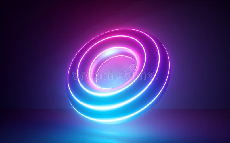 3d回报,与发光的霓虹花托形状,圆环,宇宙多福饼,激光展示,神秘的能量的抽象背景,紫外 皇族释放例证