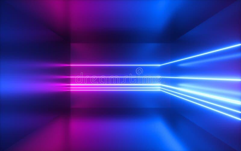 3d回报,变粉红色蓝色霓虹线,抽象背景,空的室,几何形状,真正空间,紫外光,20世纪80年代样 库存例证