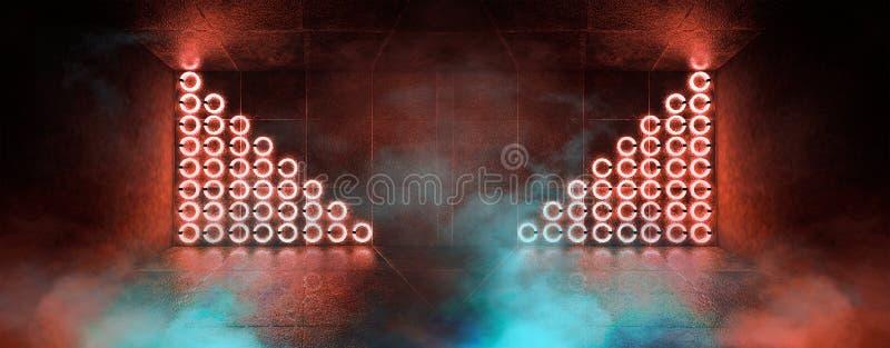 3d回报,抽象背景,隧道,霓虹灯,虚拟现实,曲拱,桃红色蓝色,充满活力的颜色,激光展示,隔绝在bla 库存例证