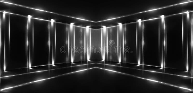 3d回报,抽象背景,隧道,霓虹灯,虚拟现实,曲拱,桃红色蓝色,充满活力的颜色,激光展示,隔绝在bla 免版税库存图片