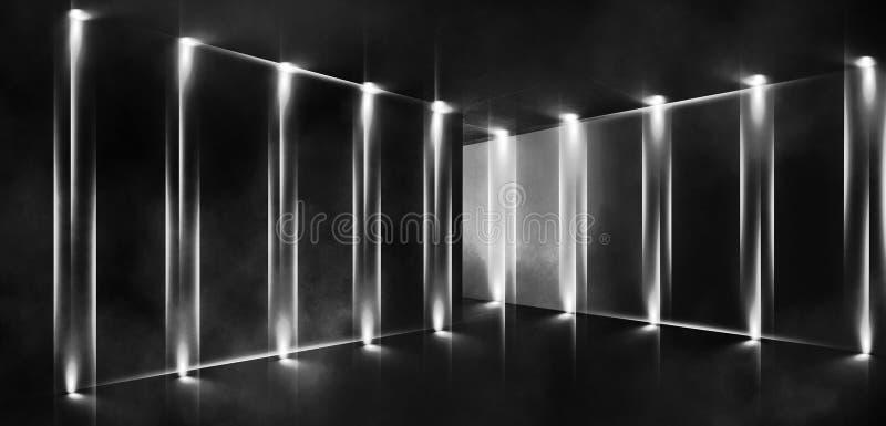 3d回报,抽象背景,隧道,霓虹灯,虚拟现实,曲拱,桃红色蓝色,充满活力的颜色,激光展示,隔绝在bla 向量例证