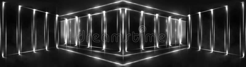 3d回报,抽象背景,隧道,霓虹灯,虚拟现实,曲拱,桃红色蓝色,充满活力的颜色,激光展示,隔绝在bla 库存图片