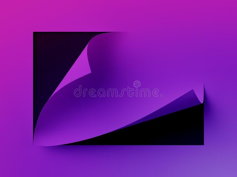 3d回报,抽象霓虹纸背景、页角落卷毛、空白纸、设计元素做广告的和增进消息 库存例证