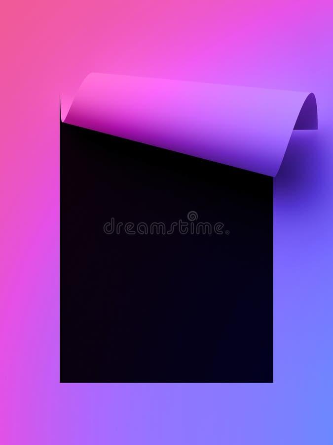 3d回报,抽象霓虹纸背景、页角落卷毛、空白纸、设计元素做广告的和增进消息 皇族释放例证
