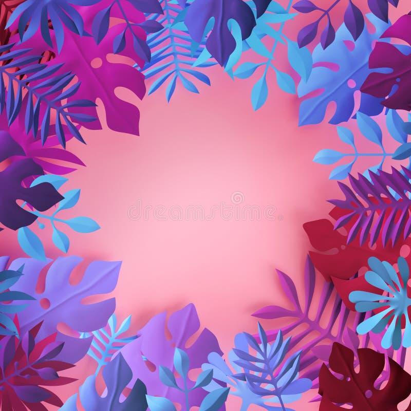 3d回报,桃红色蓝色霓虹热带纸叶子,夏天植物的背景,密林装饰,框架,文本的空间 皇族释放例证