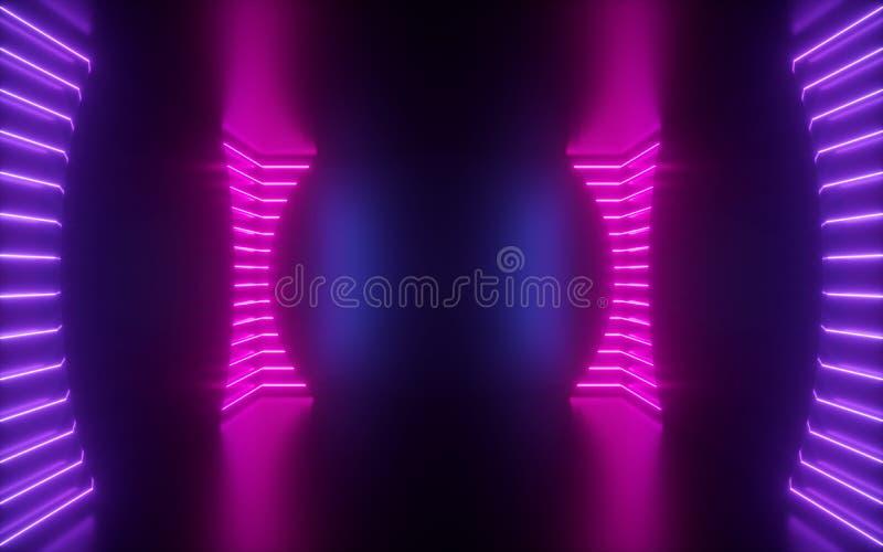 3d回报,桃红色霓虹线,在空的室,真正空间,紫外光,20世纪80年代样式,减速火箭的迪斯科俱乐部interio里面的圆形 免版税库存照片
