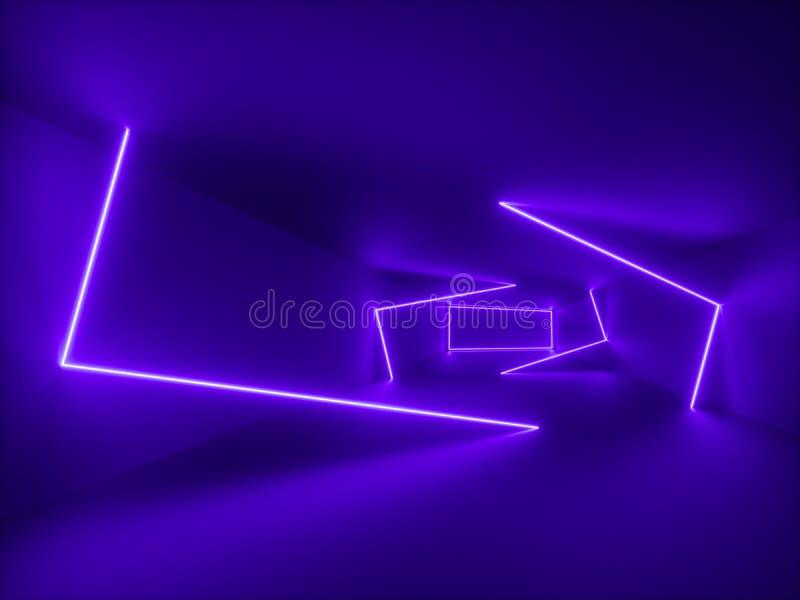3d回报,紫外光,抽象背景,紫罗兰色霓虹线,几何形状,真正空间,20世纪80年代样式,空的室 库存例证