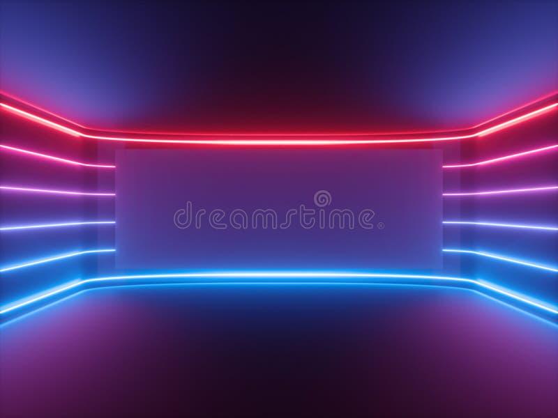 3d回报,红色蓝色霓虹灯,发光的线,空白的水平的屏幕,紫外光谱,空的室,抽象背景 免版税库存照片
