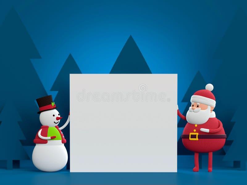 3d回报,雪人和圣诞老人,拿着白皮书板料, b 皇族释放例证