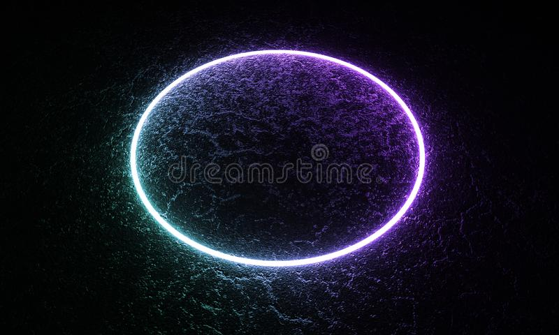 3d回报,霓虹灯,卵形形状,激光展示,照明,发光的波浪线,抽象萤光背景,错觉 皇族释放例证