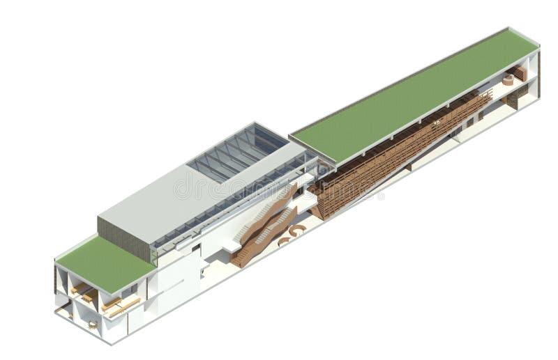 3D回报:图书馆的详细的BIM模型 库存照片
